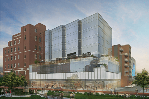 A renderring of the proposed office building at 107-02 Queens Blvd. Renderring Courtesy RJ Capital Holdings